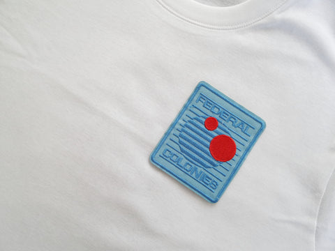 Plain White Tee Shirt with Federal Colonies Patch