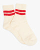 Anonymous Ism CTY 2 Line Quarter Socks - Off White / Red L 15036100-03L Anonymous Ism Socks