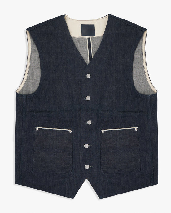 Big John RARE Vest - Unsanforized Selvedge Denim L R602-000L 4548842123397 Big John Jackets & Coats