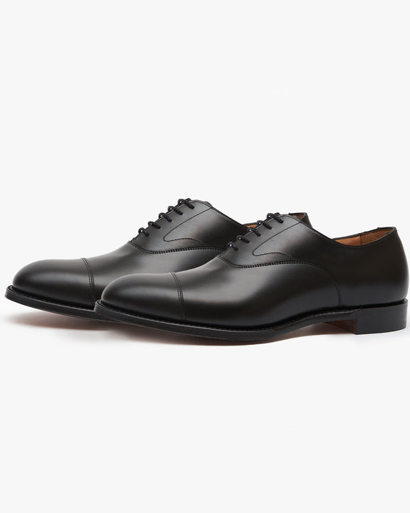 Cheaney Alfred Capped Oxford Shoe - Black Calf Leather Cheaney Shoes Shoes