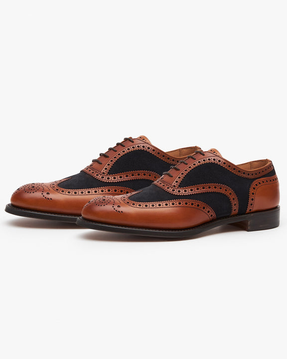 Cheaney Edwin Two-Tone Oxford Brogue - Chestnut Calf Leather / Oceano Suede Cheaney Shoes Shoes