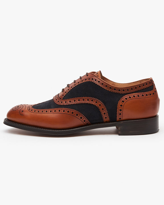 Cheaney Edwin Two-Tone Oxford Brogue - Chestnut Calf Leather / Oceano Suede UK 7 1001817 5056177026720 Cheaney Shoes Shoes