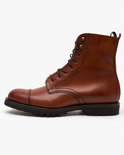 Cheaney Trafalgar Capped Derby Boot - Dark Leaf Calf Leather UK 7 1019067 5056177693144 Cheaney Shoes Boots