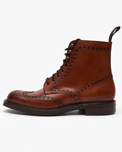 Cheaney Tweed R Wingcap Brogue Boot - Dark Leaf Calf Leather / Dainite Rubber Sole UK 7 0504857 5056177056956 Cheaney Shoes Boots