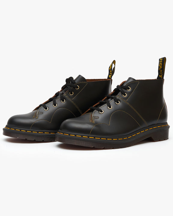 Dr Martens Church Monkey Boots - Black Vintage Smooth Dr Martens Boots