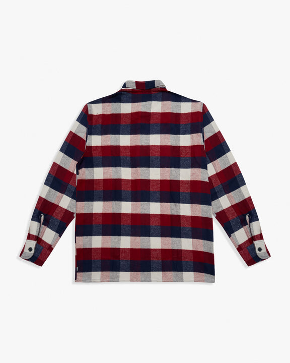 Edwin Big Shirt - Heavy Brushed Cotton Flannel / Bordeaux-Navy Edwin Shirts
