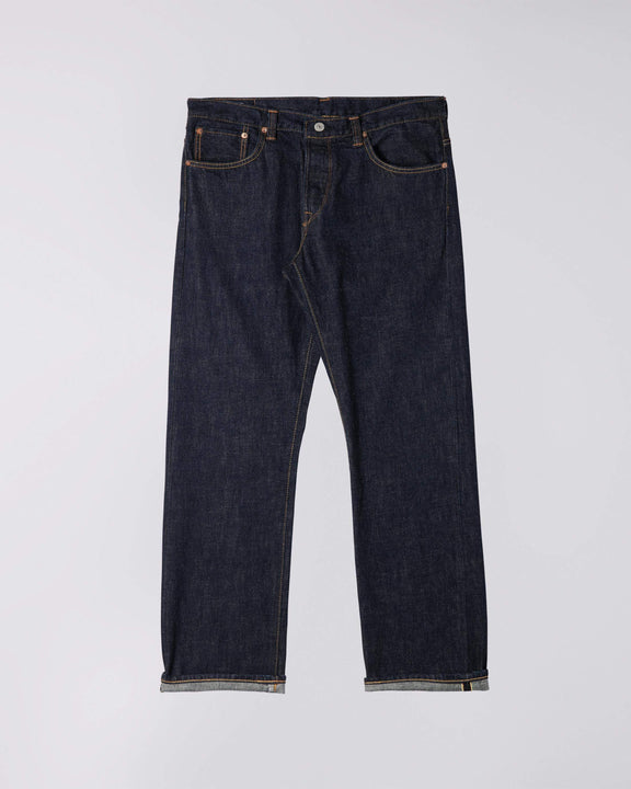 Edwin Made In Japan Loose Straight Mens Jeans - Nihon Menpu Selvage Denim / Dark Pure Indigo Blue Rinsed Edwin Jeans