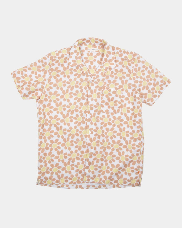 Far Afield Selleck S/S Shirt - Linen - Flower Power / Red 2 / M AFS269M 50606962685997 Far Afield Shirts