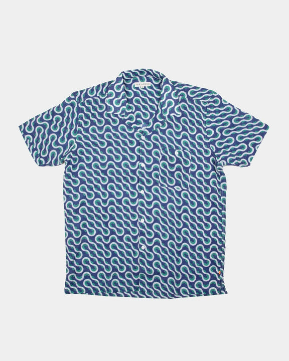 Far Afield Selleck S/S Shirt - Linen - Waves 2 / M AFS275M 5060692685638 Far Afield Shirts
