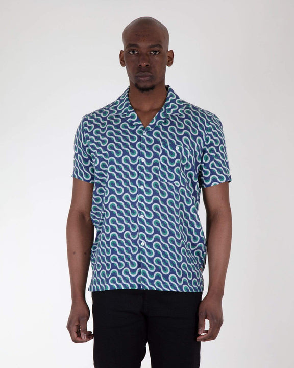 Far Afield Selleck S/S Shirt - Linen - Waves Far Afield Shirts