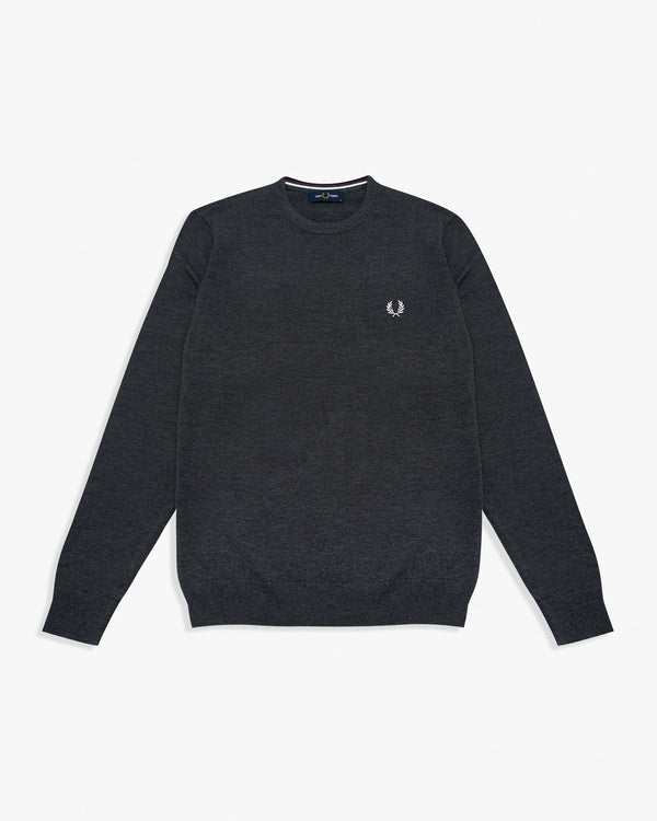 Fred Perry Classic Crew Neck Jumper - Graphite Marl M K9601829M 5034605801842 Fred Perry Sweaters & Knitwear