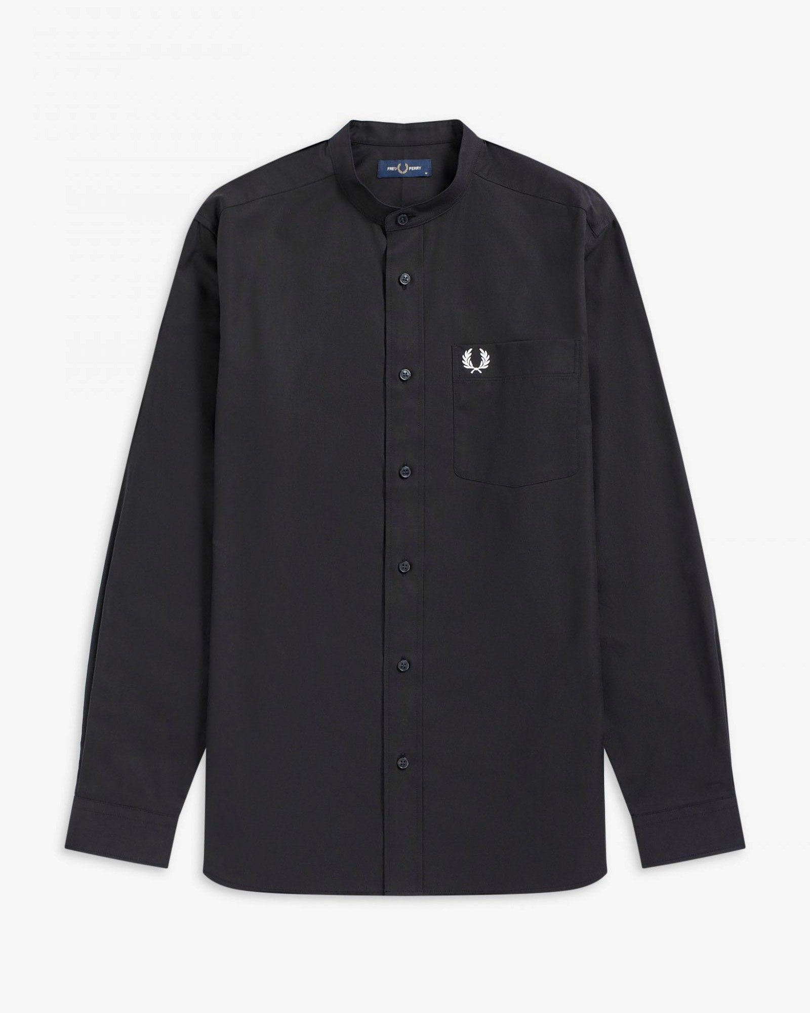 Fred Perry Grandad Collar Shirt - Black M M9603102M 5034605825107 Fred Perry Shirts