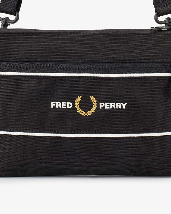 Fred Perry Graphic Panel Flat Crossbody Bag - Black L8268102 Fred Perry Bags