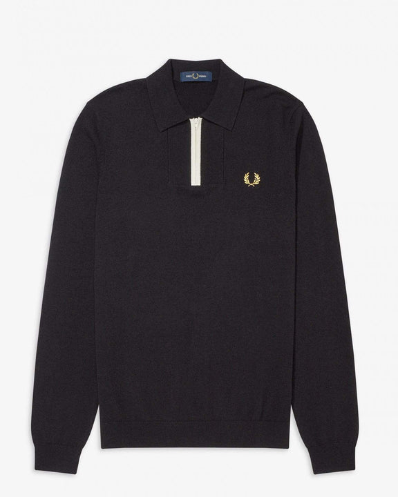 Fred Perry L/S Zip Neck Knitted Shirt - Black M K8506102M 5034605675177 Fred Perry Shirts