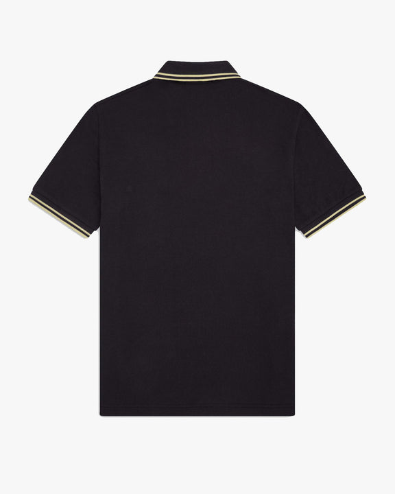 Fred Perry M12 Made In England Twin Tipped Polo Shirt - Black Fred Perry Polo Shirts