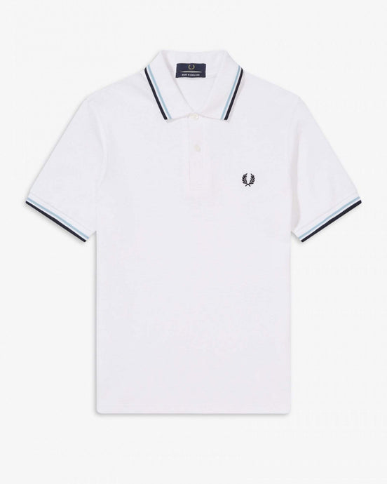 Fred Perry M12 Made In England Twin Tipped Polo Shirt - White 40 M1230040 Fred Perry Polo Shirts