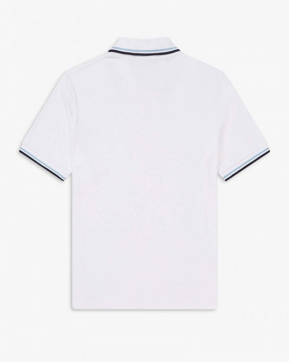 Fred Perry M12 Made In England Twin Tipped Polo Shirt - White Fred Perry Polo Shirts