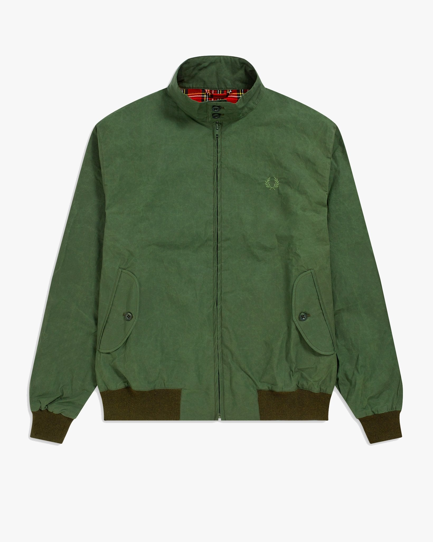 Fred Perry Made In England Waxed Harrington Jacket - Dark Fern M J9800D65M 5034605829112 Fred Perry Jackets & Coats