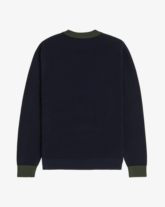 Fred Perry Pique Crew Neck Jumper - Navy Fred Perry Sweaters & Knitwear