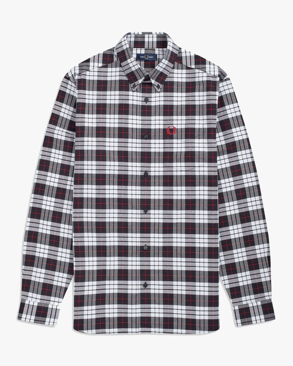 Fred Perry Tartan Oxford Shirt - White M M9514100M 5034605826067 Fred Perry Shirts