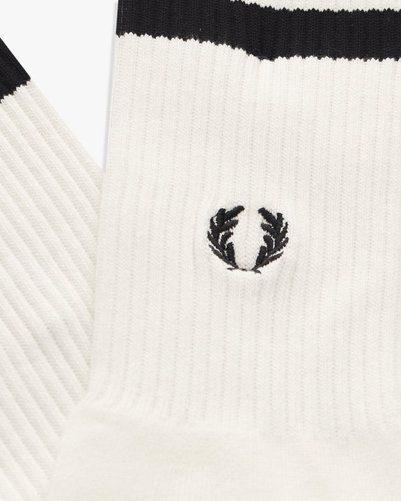 Fred Perry Tipped Sports Socks - Snow White / Black UK 9-11 C9162L59911 5034605845914 Fred Perry Socks