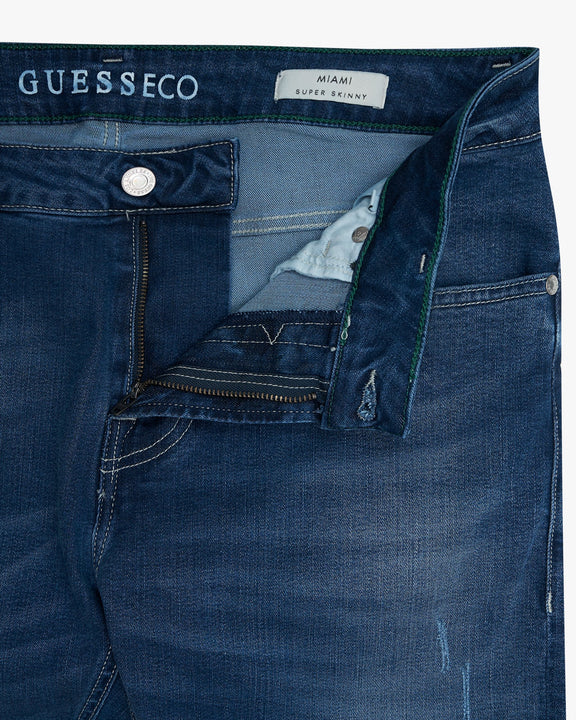 Guess ECO Off Cotton Miami Super Skinny Mens Jeans - Mid Blue Guess Jeans