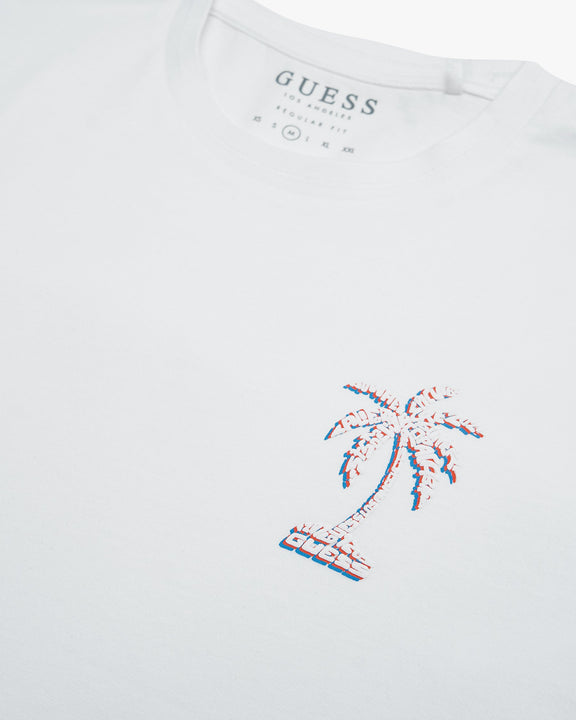 Guess Palmography Tee - White Guess T Shirts