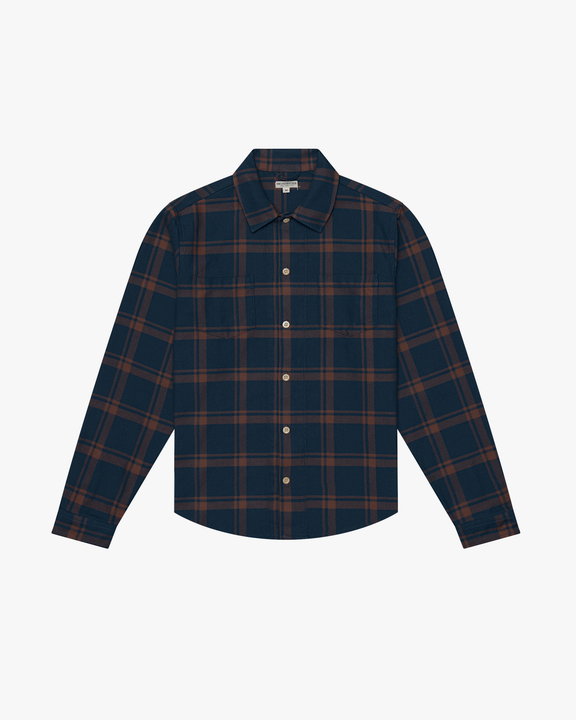 Knickerbocker Flannel Work Shirt - Dark Tan / Blue M FLAN02-L-DM 21423679 Knickerbocker Shirts