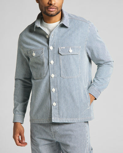 Lee Workwear Overshirt - Summer Wash / Hickory Stripe S L68DIWESS Lee Shirts