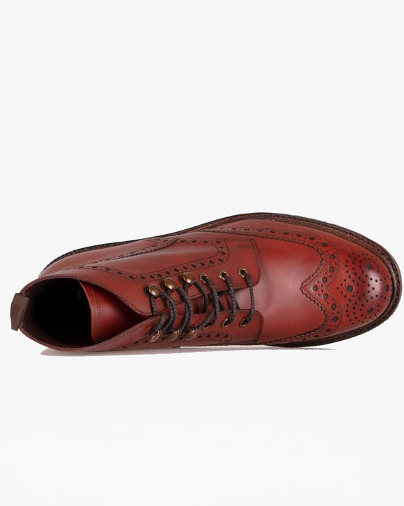 Loake Glendale Burnished Brogue Boot - Conker Loake Shoemakers Boots