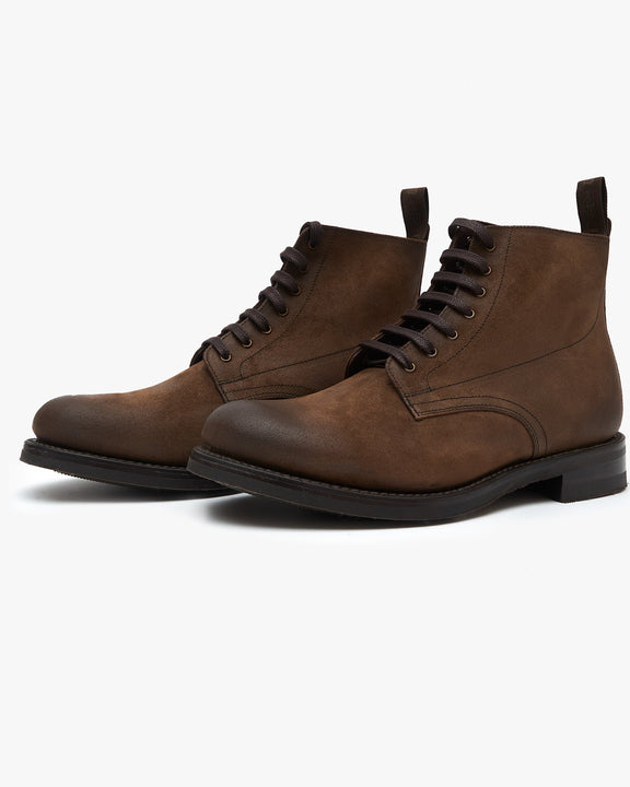 Loake Hebden Derby Boot - Brown Suede Loake Shoemakers Boots