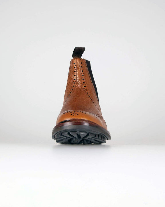 Loake Keswick Brogue Chelsea Boot - Tan Grain Loake Shoemakers Boots