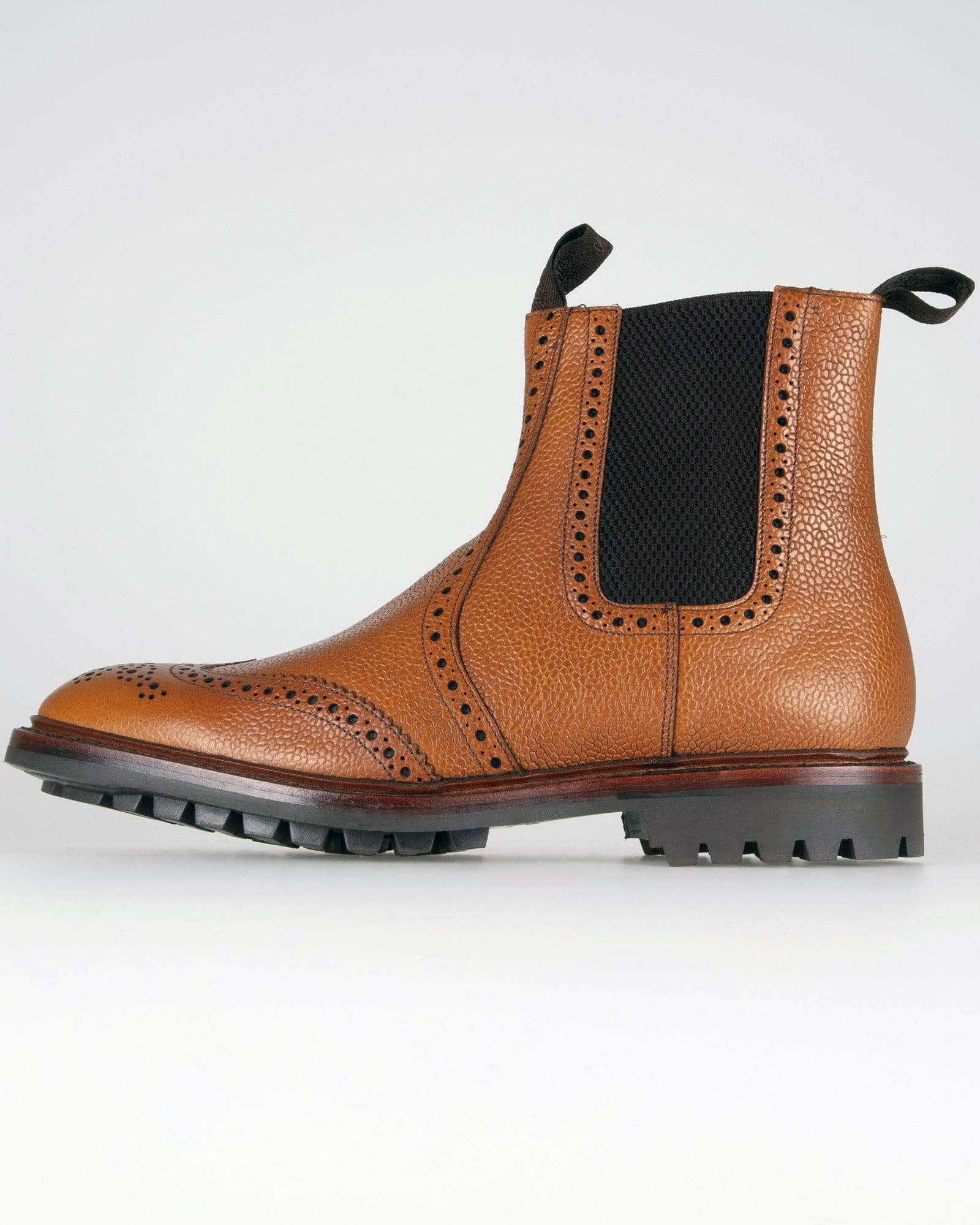 Loake Keswick Brogue Chelsea Boot - Tan Grain UK 7 KESTG7 5050362263471 Loake Shoemakers Boots