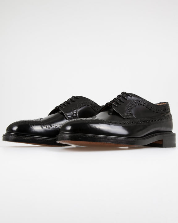 Loake Royal Polished Long Wing Brogue - Black Loake Shoemakers Shoes Loake Royal Polished Long Wing Brogue - Black - Jeans and Street Fashion from Jeanstore