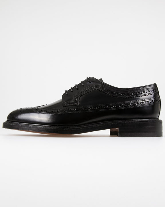 Loake Royal Polished Long Wing Brogue - Black UK 7 ROYB7 5050362055816 Loake Shoemakers Shoes Loake Royal Polished Long Wing Brogue - Black - Jeans and Street Fashion from Jeanstore