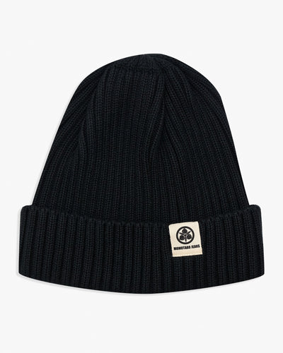 Momotaro Cotton Knit Hat - Black SJ012-BLK Momotaro Jeans Hats