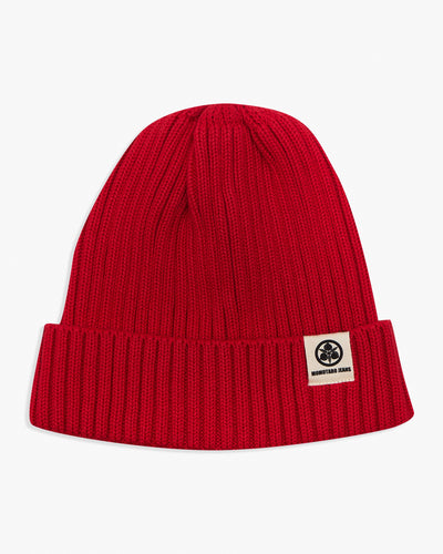 Momotaro Cotton Knit Hat - Red SJ012-RED Momotaro Jeans Hats