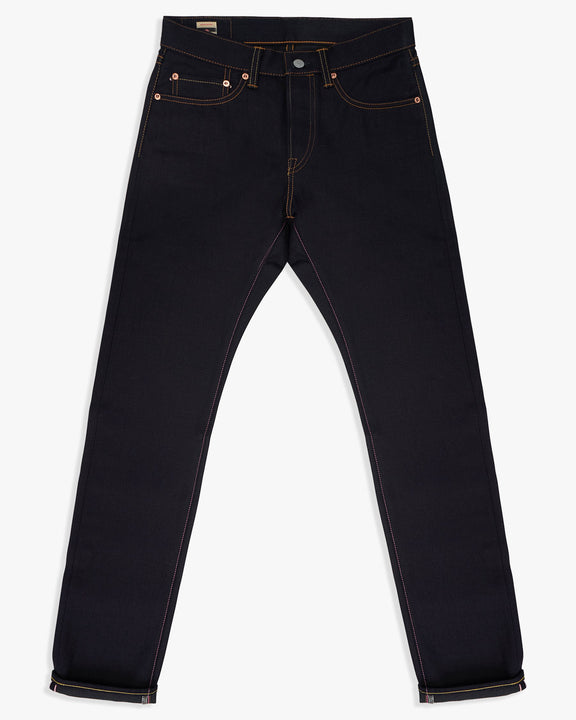 Momotaro Natural Tapered Mens Jeans - 13.5oz Double Face Selvedge Denim / Indigo x Black - GTB Stripe W30 L34 0605-BKSP30L 4573498474418 Momotaro Jeans Jeans