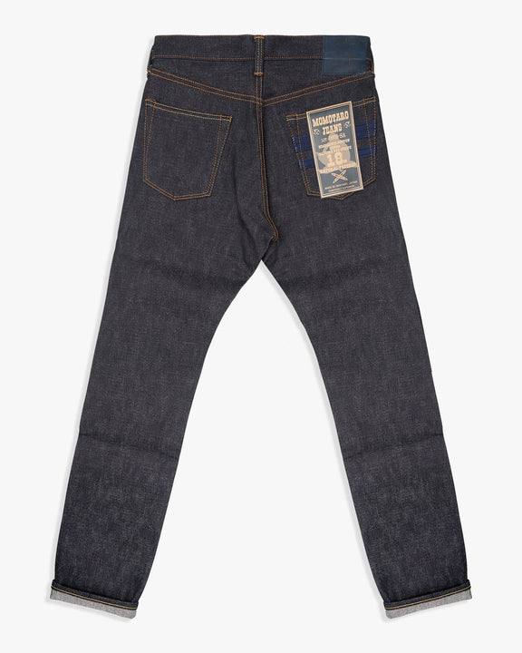 Momotaro Natural Tapered Mens Jeans - 18oz Zimbabwe Cotton Selvedge Denim / Indigo - Sashiko GTB Stripe Momotaro Jeans Jeans