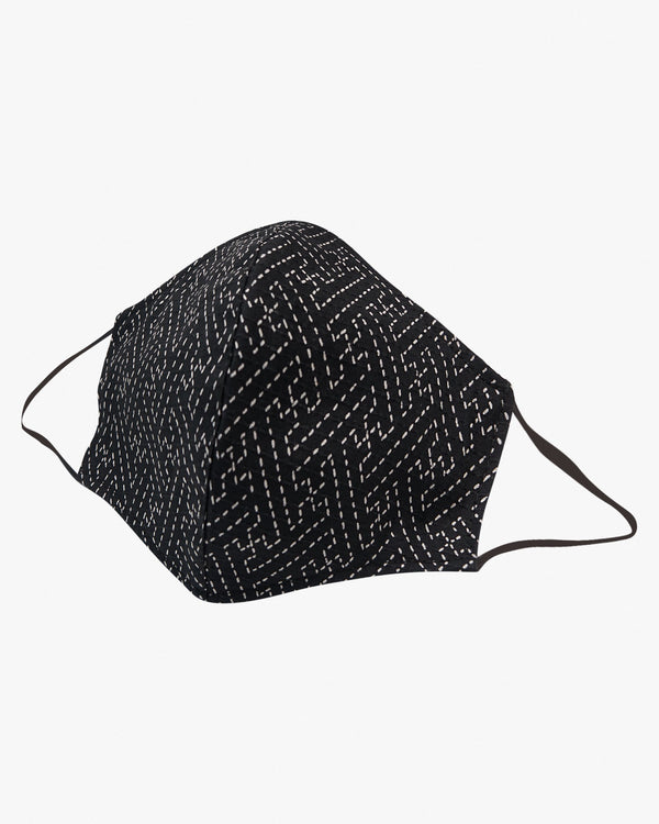 Naked & Famous Denim Protection Face Mask - Sashiko Stitch / Black S/M GG90192099-1 675270196816 Naked & Famous Denim Miscellaneous