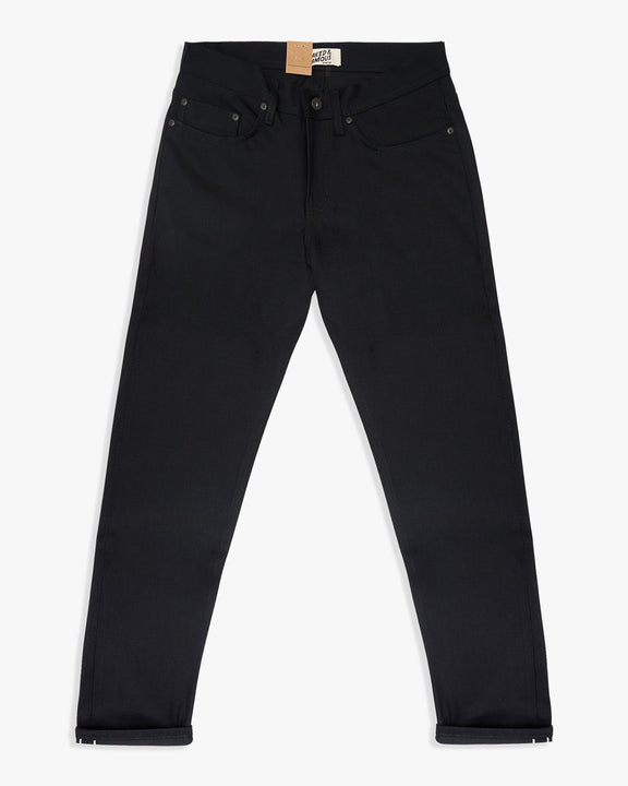 Naked & Famous Weird Guy Slim Tapered Mens Jeans - Solid Black Selvedge W30 L34 01616330L Naked & Famous Denim Jeans