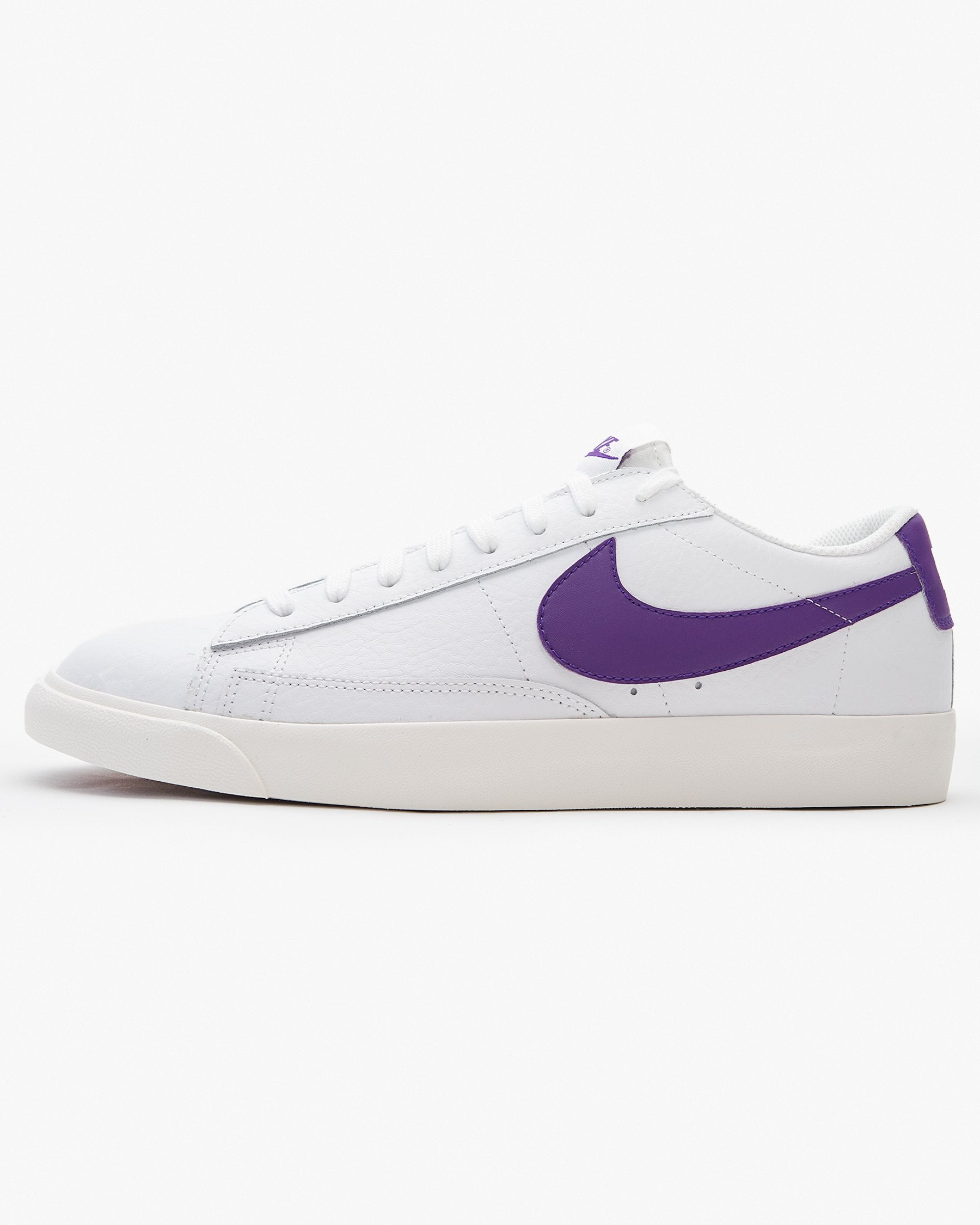 Nike Blazer Low Leather - White / Sail / Voltage Purple UK 7 CI63771037 193658033688 Nike Trainers