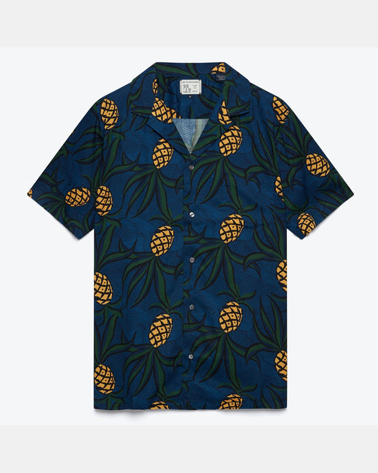 Reyn Spooner Whacky Pineapple Rayon Camp Shirt - Dress Blues - MADE IN JAPAN M M497412919-0229M Reyn Spooner Shirts