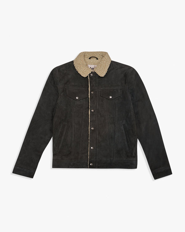 Schott NYC LCRANCH Suede Shearling Trucker Jacket - Dark Grey / Off White M LCRANCH-DKGM Schott NYC Jackets & Coats