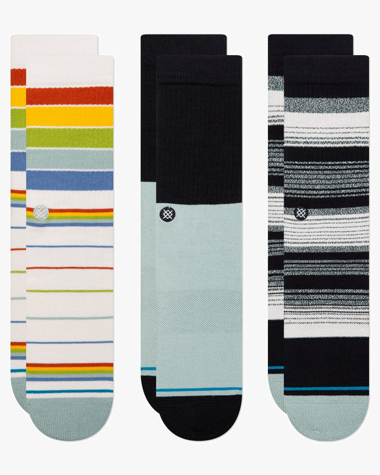 Stance Badwater Crew 3-Pack Socks - Multi L A556A21BCP-MULL 190107461887 Stance Socks