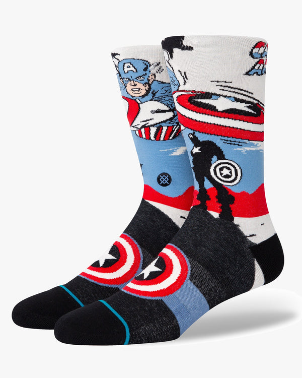 Stance x Marvel Captain America Marquee Socks - Off White L A545A21CMQ-OFWL 190107463591 Stance Socks