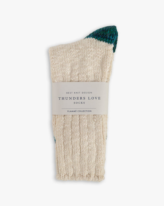Thunders Love Flammé Collection Socks - Raw White / Turquoise 0420219 Thunders Love Socks