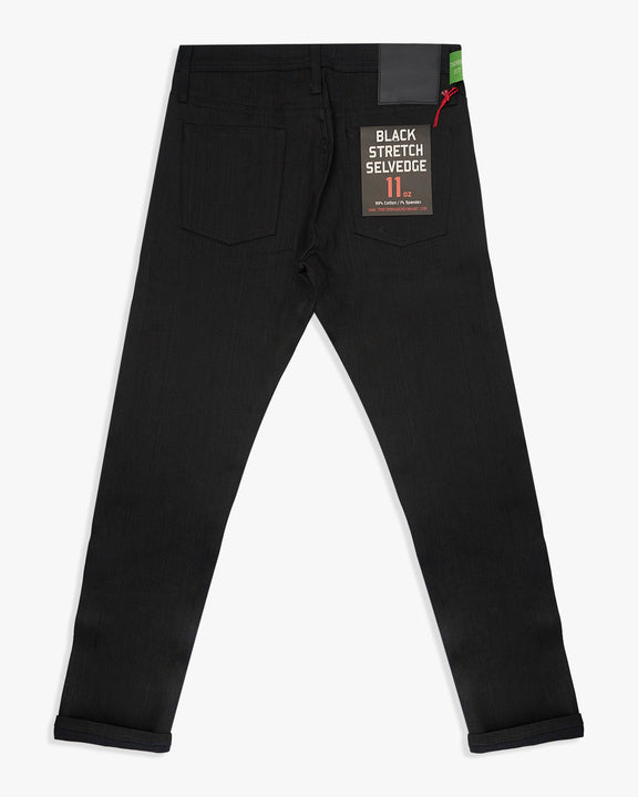 Unbranded UB244 Tapered Fit Mens Jeans - 11oz Solid Black Stretch Selvedge The Unbranded Brand Jeans