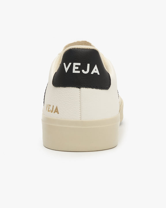 Veja Womens Campo Chromefree Leather Sneakers - White / Black Veja Trainers