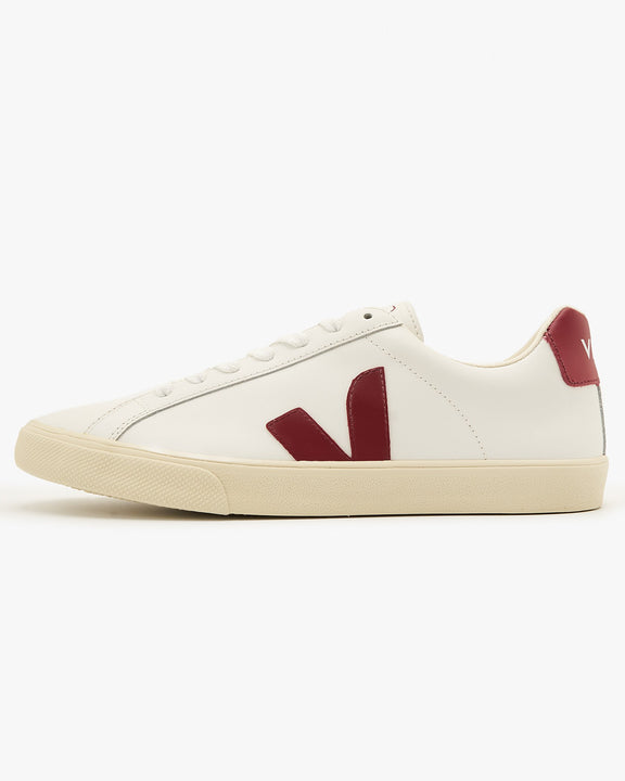 Veja Womens Esplar Leather Sneakers - Extra White / Marsala UK 4 EOW0221104 Veja Trainers